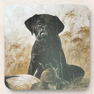 Coasters Black Lab Labrador Puppy Dog w Duck Decoy