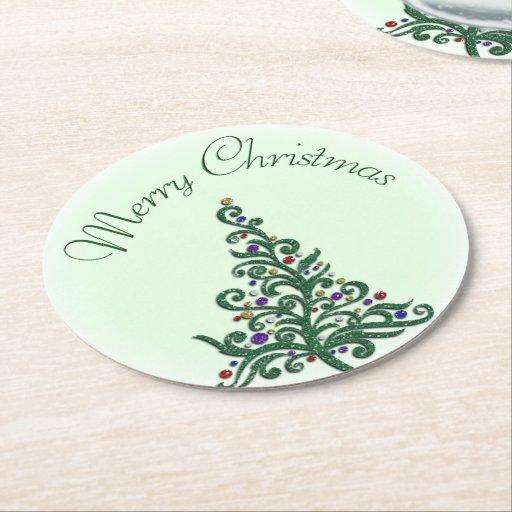 Coasters - Board - Green Flourishing Holiday Tree Round Paper Coaster