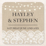 "Coasters Burlap Lace Lights Rustic Wedding Party<br><div class=""desc"">Coasters Wedding Party - See the matching collection in my store Wow Wow Meow</div>"