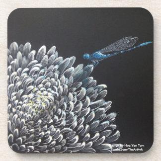 Coasters - Chrysanthemum and damselfly