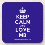 [Crown] keep calm and love mb  Coasters (Cork)