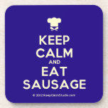 [Chef hat] keep calm and eat sausage  Coasters (Cork)