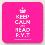 [Crown] keep calm and read p.y.t  Coasters (Cork)