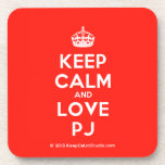 [Crown] keep calm and love pj  Coasters (Cork)
