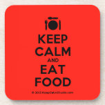 [Cutlery and plate] keep calm and eat food  Coasters (Cork)