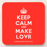[Crown] keep calm and make lovr  Coasters (Cork)