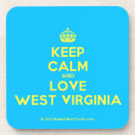 [Crown] keep calm and love west virginia  Coasters (Cork)