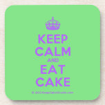 [Crown] keep calm and eat cake  Coasters (Cork)