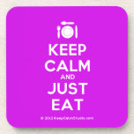[Cutlery and plate] keep calm and just eat  Coasters (Cork)