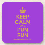 [Crown] keep calm and pun pun  Coasters (Cork)