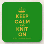 [Knitting crown] keep calm and knit on  Coasters (Cork)