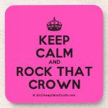 [Crown] keep calm and rock that crown  Coasters (Cork)