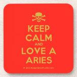 [Skull crossed bones] keep calm and love a aries  Coasters (Cork)