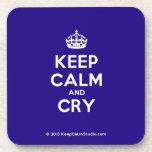 [Crown] keep calm and cry  Coasters (Cork)