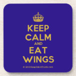 [Crown] keep calm and eat wings  Coasters (Cork)