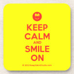 [Smile] keep calm and smile on  Coasters (Cork)