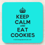 [Crown] keep calm and eat cookies  Coasters (Cork)