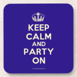 "Coasters (Cork)<br><div class=""desc"">Based on the original Keep Calm and ...  poster this cream and blue Keep Calm and Party On Coasters (Cork) features a custom designed font that matches the original closely.</div>"