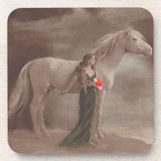 Coasters Enchanting Antique Pretty Woman & Horse
