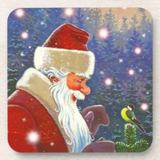 Coasters Enchanting Snow Chickadee Woodland Santa