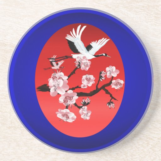 Coasters-Flying Crane and Sun-(midnight blue backg
