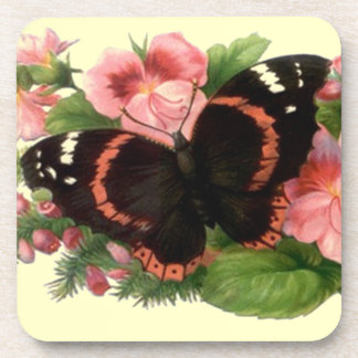 Coasters Garden Party Butterfly Coral Pink Flowers