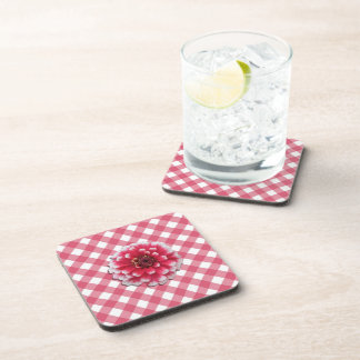 Coasters - Hard Plastic - BiColor Zinnia Lattice