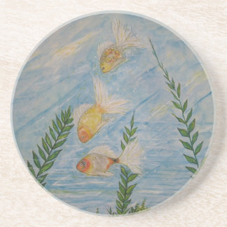 Coasters in Sandstone with Goldfish