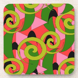 Coasters Polynesian Tiki Bar Watermelon Abstract