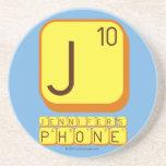 J JENNIFER'S PHONE  Coasters (Sandstone)