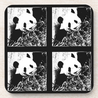 Coasters, Set of 6, Giant Panda Black & White Drink Coaster