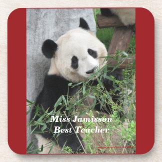 Coasters Set of 6, Giant Pandas, Best Teacher, Red
