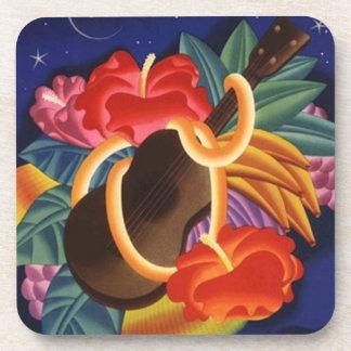 Coasters Tiki Bar Ukulele Hibiscus Tropical Nights