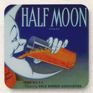 Coasters Vintage Ad Fun Anthropomorphic Half Moon