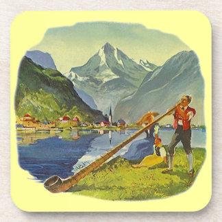 Coasters Vintage Alps Alpine horn alpenhorn horns