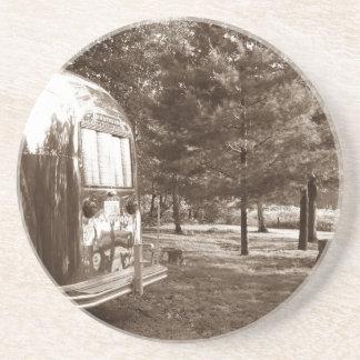 Coasters Vintage aluminum camper Boondocking Lake