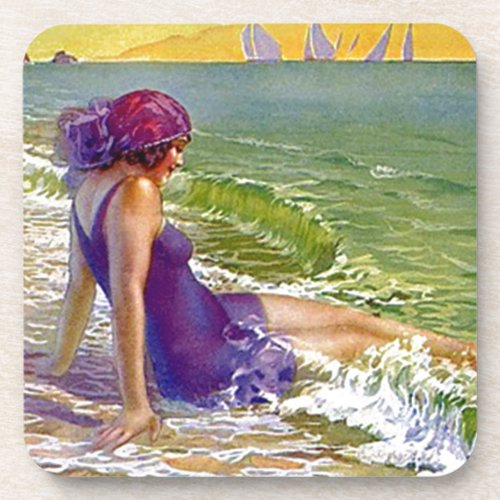 Coasters Vintage Beach Flapper Purple suit Cloche