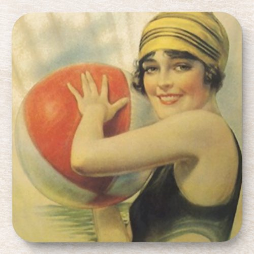 Coasters Vintage Evening Beach Ball Flapper Cloche