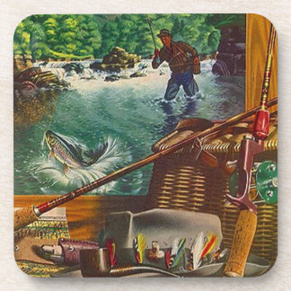 Coasters Vintage Fishing Camp Trout Stream Gear