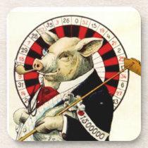 Coasters Vintage Gambler Gambling Roulette Pig