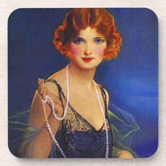 Coasters Vintage Midnight Blue Flapper Fashions