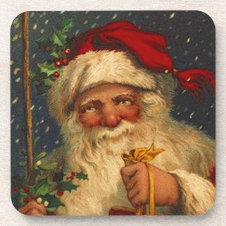 Coasters Vintage Woodland Christmas Santa Snowing