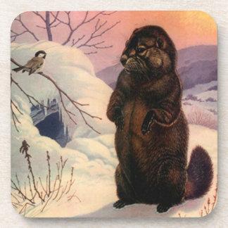 Coasters Winter Wildlife Chickadee bird Beaver