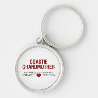 Coastie Grandmother Sacrifice, Strength, Courage Silver-Colored Round Keychain