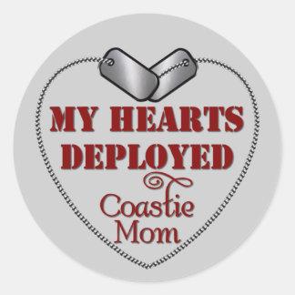 Coastie Mom, My Hearts Deployed Classic Round Sticker