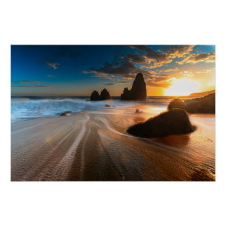 Coastline At Sunset | Northern California Poster