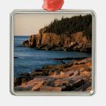 Coastline of Acadia National Park , Maine Square Metal Christmas Ornament