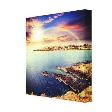 Beach Themed Coastline of Bulgaria Wrapped Canvas Print