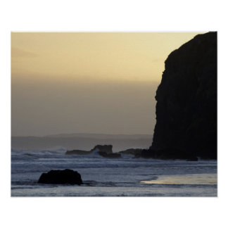 coastline with stormy seas poster