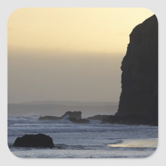 coastline with stormy seas square sticker